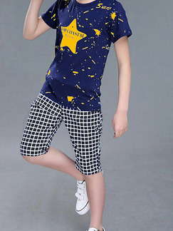 Blue and Yellow Plus Size Two-Piece Printed Round Neck Grid Halen  Boy Suit for Casual