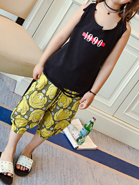 Yellow Plus Size Loose Printed Lantern Adjustable Waist Girl Pants for Casual
