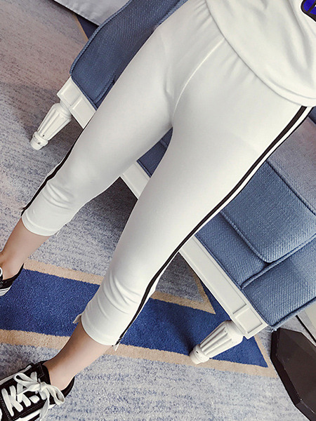 White and Black Plus Size Side Stripe Adjustable Waist Girl Pants for Casual