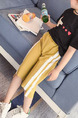 Yellow and White Plus Size Side Stripe Adjustable Waist Micro-Pull Girl Pants for Casual
