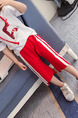 Red and White Plus Size Side Stripe Adjustable Waist Micro-Pull Girl Pants for Casual