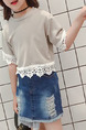 Beige and White Plus Size Round Neck Linking Laced Girl Shirt for Casual Party