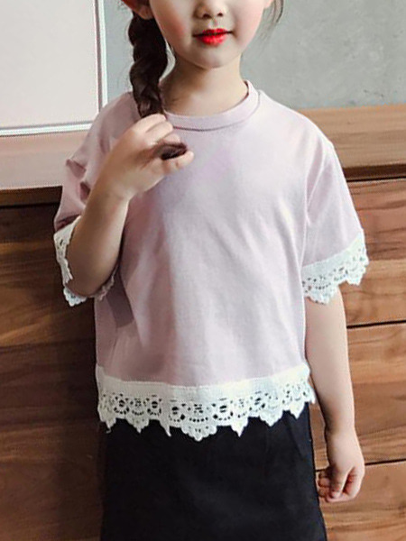 Pink and White Plus Size Round Neck Linking Laced Girl Shirt for Casual Party
