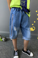 Blue Plus Size Denim Halen Holes Side Stripe Crimping Pockets Adjustable Waist Boy Pants for Casual