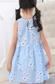 Blue Slim Printed Above Knee Fit & Flare Floral Girl Dress for Casual Party