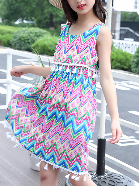 Colorful Loose Tassel Printed Above Knee Girl Dress for Casual Party