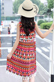 Red Colorful Loose Tassel Printed Above Knee Girl Dress for Casual Party