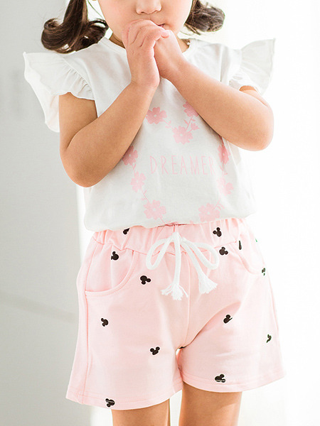 Pink Printed Adjustable Waist Band Pockets Cute Girl Shorts for Casual