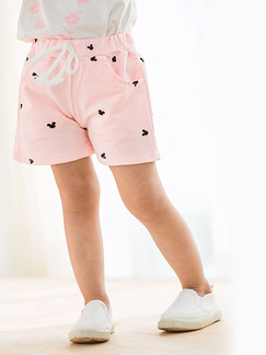 Pink Printed Adjustable Waist Band Belt Pockets Cute Girl Shorts for Casual