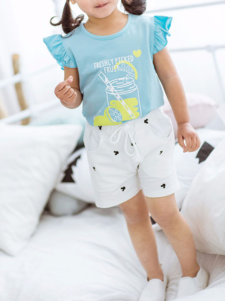 White Printed Adjustable Waist Band Pockets Cute Girl Shorts for Casual