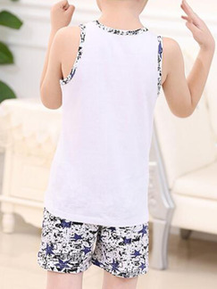 White and Blue Two-Piece Contrast Linking Printed Vest Round Neck  Boy Suit for Casual