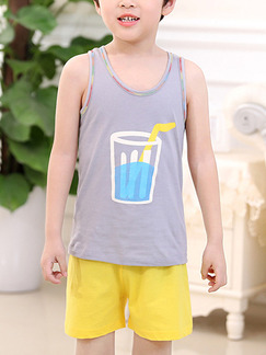 Grey and Yellow Two-Piece Contrast Linking Vest Located Printing Round Neck  Boy Suit for Casual