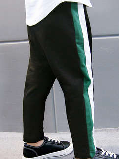 Black White and Green Plus Size Adjustable Waist Contrast Side Stripe Halen Boy Pants for Casual