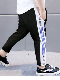 Black White and Blue Plus Size Adjustable Waist Contrast Stripe Letter Printed Halen Boy Pants for Casual