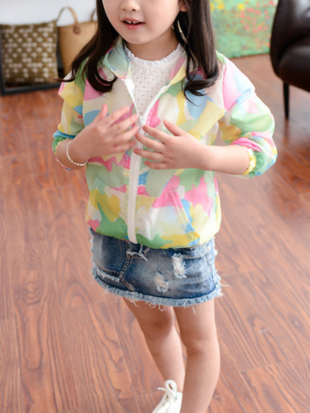 Colorful Plus Size Printed Hooded Zipper Pockets Long Sleeve Girl Jacket for Casual