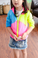 Pink Yellow and Blue Plus Size Contrast Linking Hooded Zipper Pockets Long Sleeve Girl Jacket for Casual