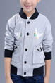 Grey White and Black Stand Collar Embroidery Pockets Single-Breasted Long Sleeve Boy Jacket for Casual