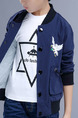 Blue and White Stand Collar Embroidery Pockets Single-Breasted Long Sleeve Boy Jacket for Casual
