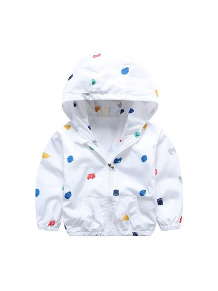 White Colorful Printed Hooded Zipper Pockets Long Sleeve Girl Jacket for Casual