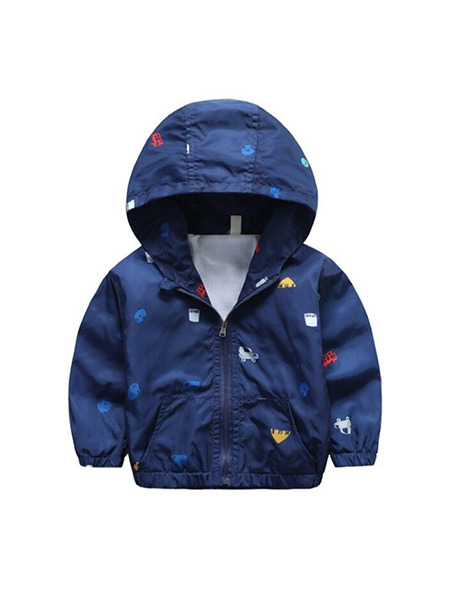 Blue Colorful Printed Hooded Zipper Pockets Long Sleeve Boy Jacket for Casual