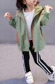 Green and Orange Hooded Contrast Zipper Pockets Located Printing Back Long Sleeve Girl Jacket for Casual