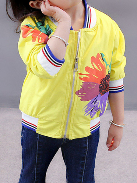 Yellow Colorful Stand Collar Contrast Stripe Located Printed Long Sleeve Girl Jacket for Casual
