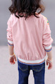 Pink Colorful Stand Collar Contrast Stripe Located Printed Long Sleeve Girl Jacket for Casual