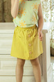 Yellow Slim A-Line Adjustable Waist Single-Breasted Pockets Girl Short for Casual