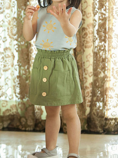 Green Slim A-Line Adjustable Waist Single-Breasted Pockets Girl Short for Casual