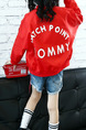 Red Stand Collar Letter Printed Pockets Long Sleeve Girl Jacket for Casual