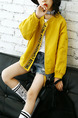 Yellow Stand Collar Letter Printed Pockets Long Sleeve Girl Jacket for Casual