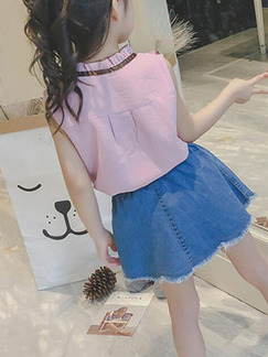 Pink and Blue  Slim Denim Two-Piece Above Knee Girl Dress for Casual Party
