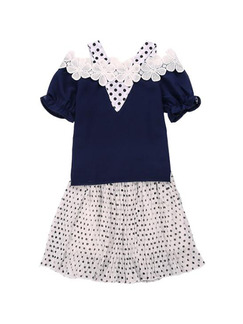 Navy Blue and White Slim Off-Shoulder Polka Dot Two-Piece Above Knee Girl Dress for Casual Party