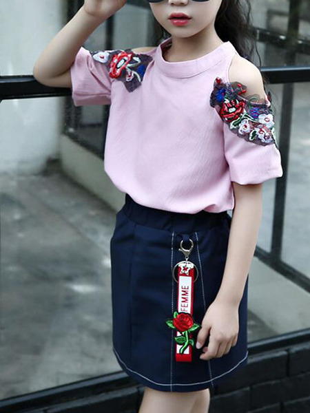 Pink and Navy Blue Slim Embroidery Denim Two-Piece Above Knee Girl Dress for Casual Party