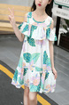 Colorful Loose Printed Off-Shoulder Above Knee Tropical Girl Dress for Casual
