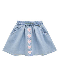 Blue Slim A-Line Denim Love Pattern Skirt Girl Skirt for Casual