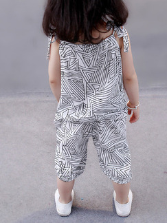 White Loose Printed Two-Piece Girl Jumpsuit for Casual Party