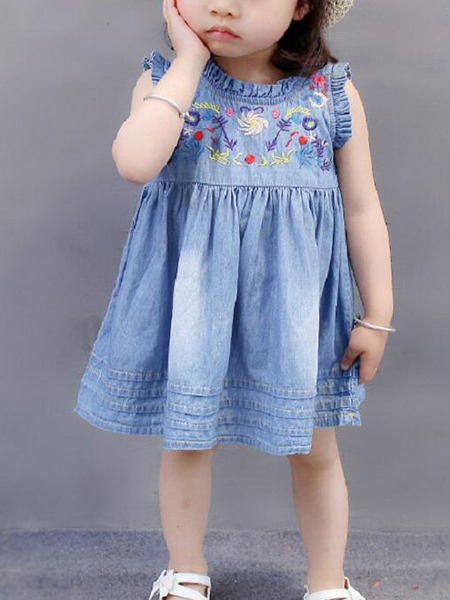 Blue Loose Denim Embroidery Knee Length Shift Girl Dress for Casual Party