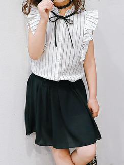 Black and White Slim Stripe Ruffle Two-Piece Above Knee Girl Dress for Casual Party