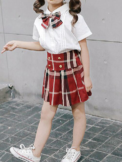 White and Red Slim Contrast Grid Two-Piece Above Knee Girl Dress for Casual Party
