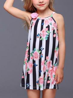 Colorful Loose Stripe Printed Floral Above Knee Shift Girl Dress for Casual Party