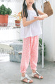 Pink and White Wave Point Adjustable Waist Beam Foot Girl Pants for Casual