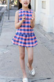 Blue and Pink Two-Piece Contrast Grid Zipper Back Adjustable Waist Wide-Leg Above Knee Girl Suit for Casual