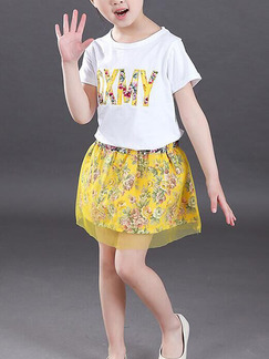 Yellow Two-Piece Round Neck Letter Printed Mesh Floral Adjustable Waist Above Knee Girl Suit for Casual