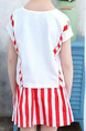 Red and White Two-Piece Round Neck Letter Printed Vertical Stripe Adjustable Waist Above Knee Girl Suit for Casual