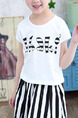 Black and White Two-Piece Round Neck Letter Printed Vertical Stripe Adjustable Waist  Girl Suit for Casual