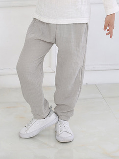 Grey Adjustable Waist Beam Foot Lantern Boy Pants for Casual