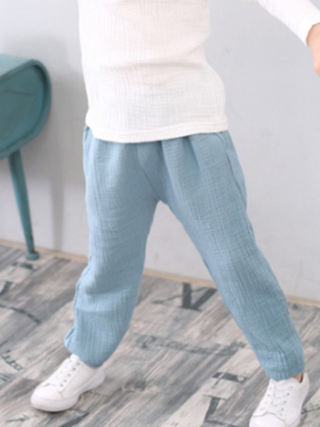 Blue Adjustable Waist Beam Foot Lantern Boy Pants for Casual