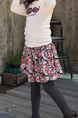 Colorful Slim A-Line Printed Floral Girl Skirt for Casual Party