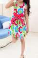 Colorful Slim A-Line Printed Dress Girl Dress for Casual Party